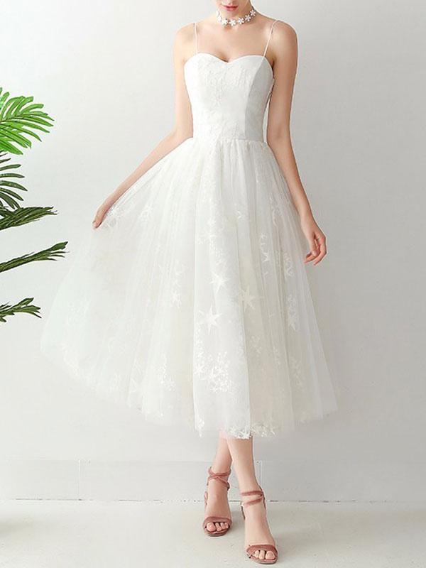 Short Wedding Dress2021 A Line Sweetheart Neck Sleeveless Tea Length Natural Waist Tulle Bridal Dresses