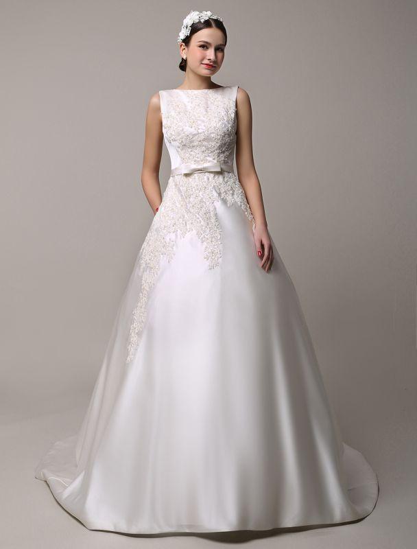 Vestido de novia de encaje con espalda descubierta y cuello barco con bolsillos de inserción Exclusivo