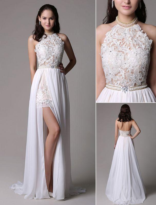 White Prom Dresses 2021 Long Ivory Halter Backless Evening Dress Lace Applique Beading Chiffon Split Party Dress