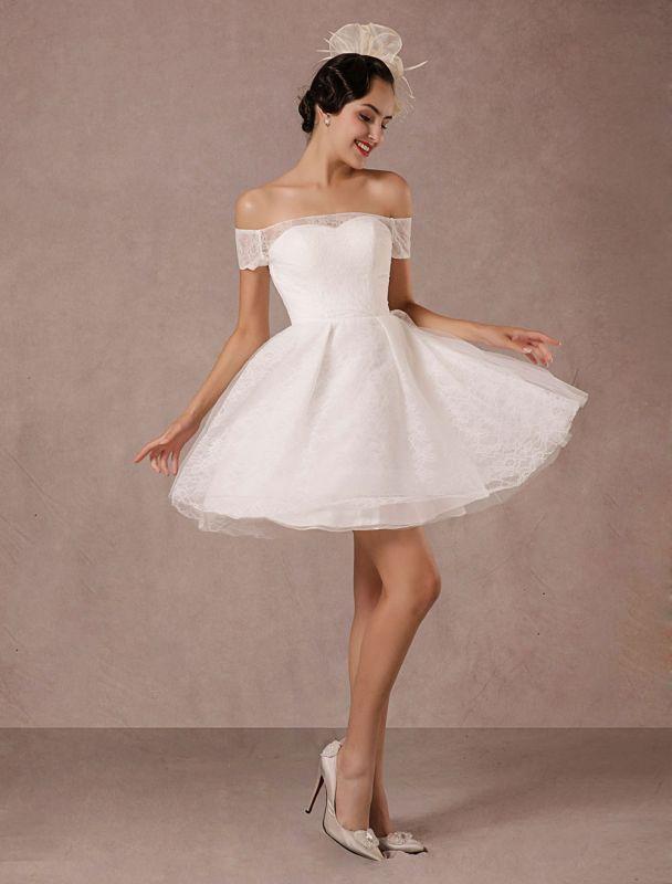 Kurzes Brautkleid Spitze Schulterfrei Mini A-Linie Vintage Brautkleid