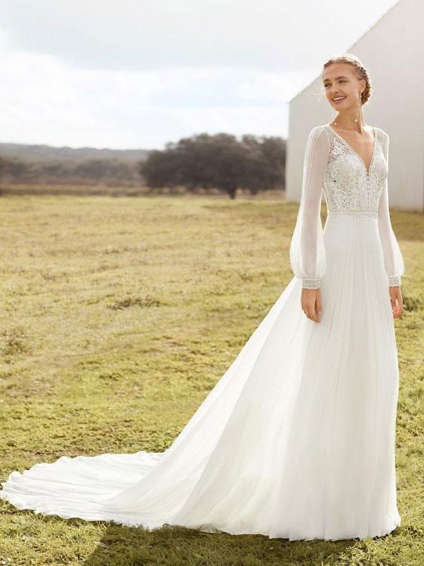 Elfenbein Einfaches Brautkleid mit Zug A-Linie V-Ausschnitt mit langen Ärmeln Spitze Brautkleider