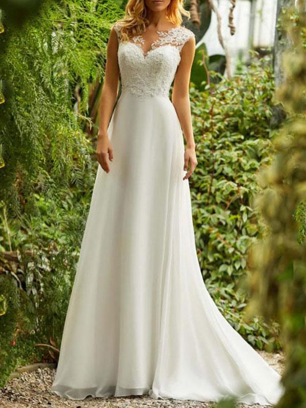 Einfache Brautkleider 2021 Chiffon A Line V-Ausschnitt ärmellose Spitze Perlen Brautkleider mit Zug