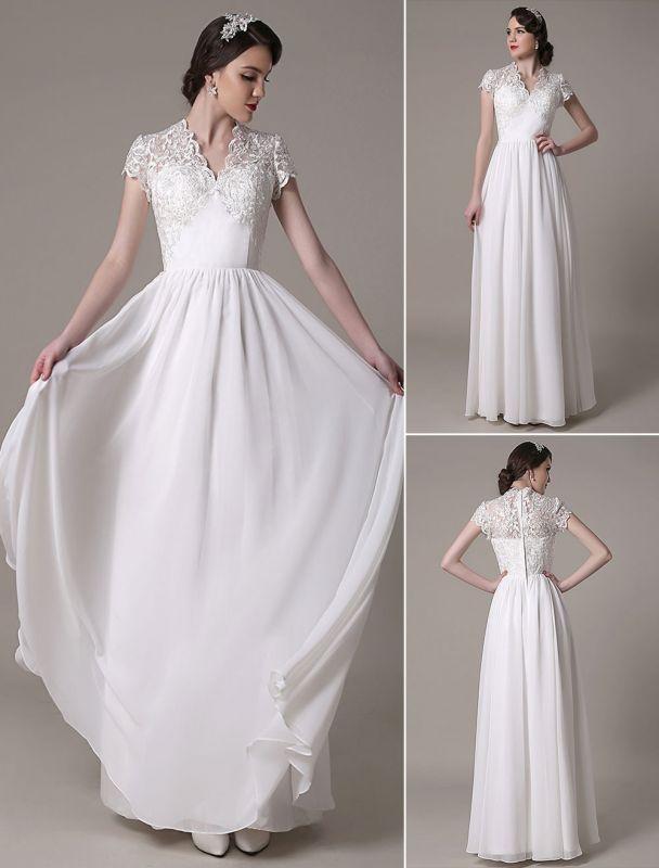 Sheath Wedding Dress V-Neck Lace Chiffon Pleated Floor Length Bridal Dress Exclusive