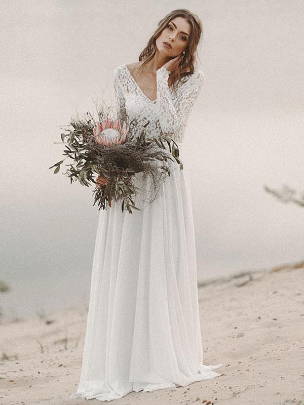 Simple Wedding Dress A Line V Neck Long Sleeve Floor Length Chiffon Lace Beach Wedding Dresses