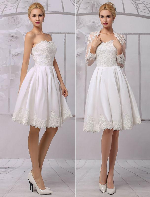 Knielanges Brautkleid aus Satin und Spitze mit Spitze, Langarm-Wrap Exklusiv