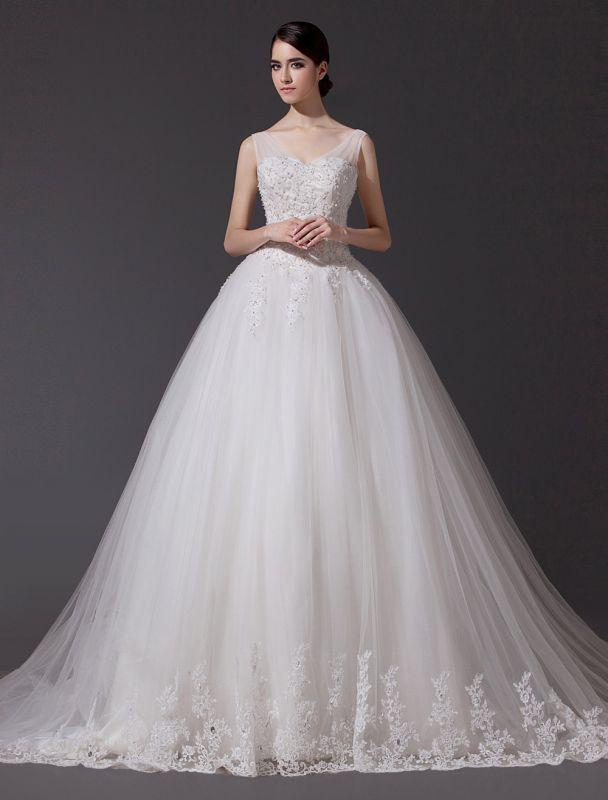 Brautkleider V-Ausschnitt Spitze Applique Brautkleid Pailletten Perlen Illusion Lange Kathedrale Zug Brautkleid
