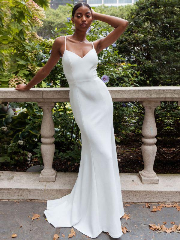 White Simple Wedding Dress Mermaid V-Neck Sleeveless Spaghetti Straps Natural Waist Satin Fabric Split Front Bridal Gowns