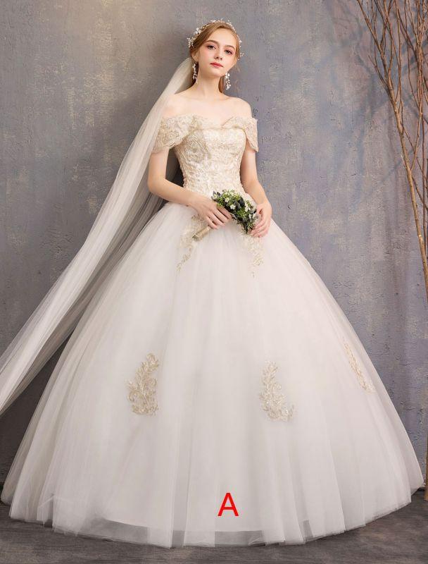 Prinzessin Brautkleid Elfenbein Spitzenapplikation Schulterfrei Kurzarm Brautkleid