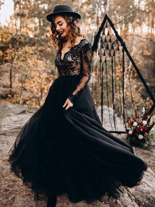 Black Wedding Dresses A-Line Designed Neckline Long Sleeves Natural Waistline Tulle Lace Sweep Bridal Gown