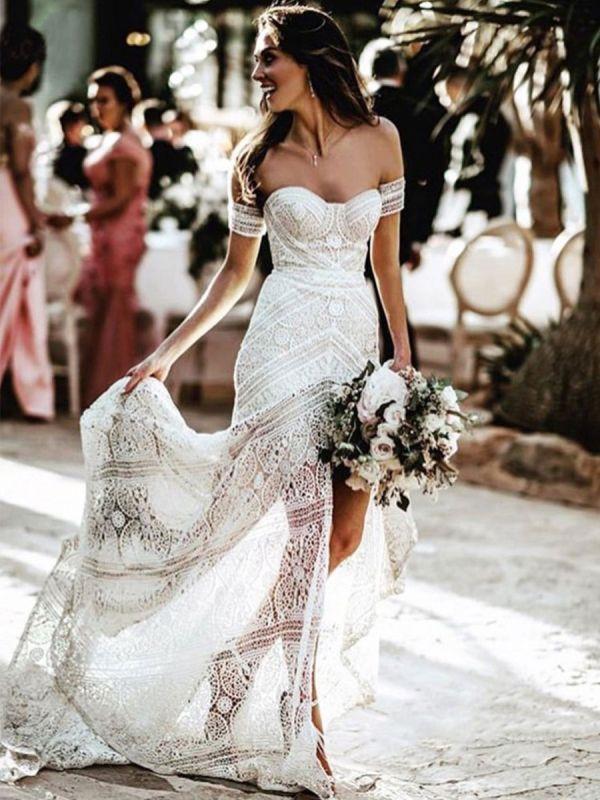 Weißes Spitze Brautkleid bodenlangen Mantel Ärmellos Spitze Schatz-Ausschnitt Brautkleider Zug Kleid