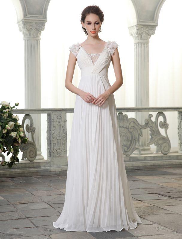 Beach Wedding Dresses V Neck Chiffon Summer Bridal Dress Chiffon Flowers Beading Pleated Floor Length Wedding Gown Exclusive
