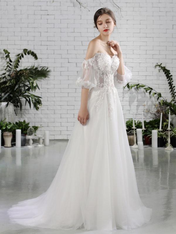 Vestido de novia de playa Vestidos de novia de marfil con hombros descubiertos Flores de media manga Escote corazón con cuentas Vestido de novia maxi para el verano