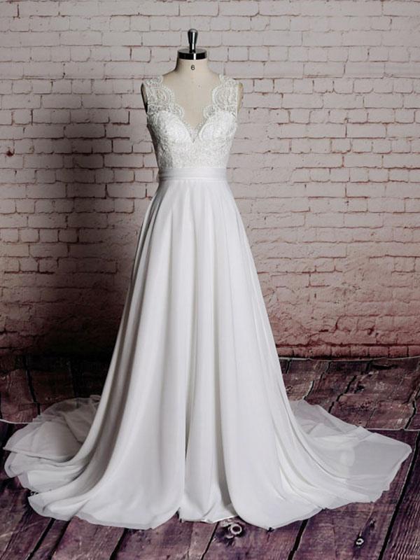Einfaches Brautkleid A-Linie Spitze V-Ausschnitt Ärmellose Schleifen Brautkleider mit Kapelle Zug