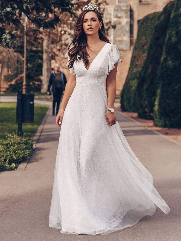 White Simple Wedding Dress Lace V-Neck Short Sleeves Backless Ruffles A-Line Natural Waist Long Bridal Gowns