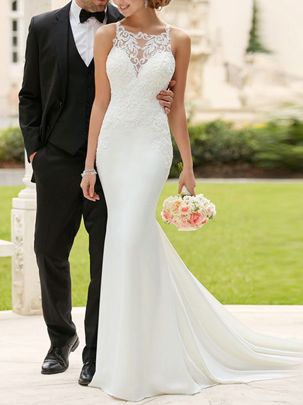 Wedding Dress 2021 Simple Mermaid Bateau Neck Sleeveless Lace Appliqued Traditional Bridal Dresses