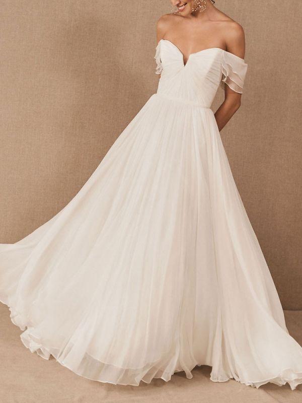 White Bridal Dress A-Line Bateau Natural Waistline Chiffon Back Zipper Floor Length Wedding Dress