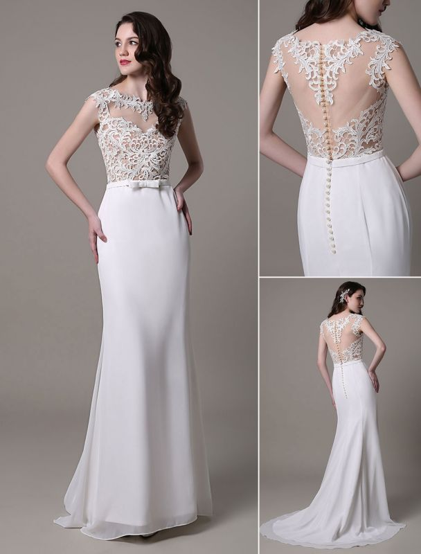 Vintage Wedding Dress Lace And Chiffon Sheath With Stunning Bateau Illusion Neckline And Illusion Back Exclusive