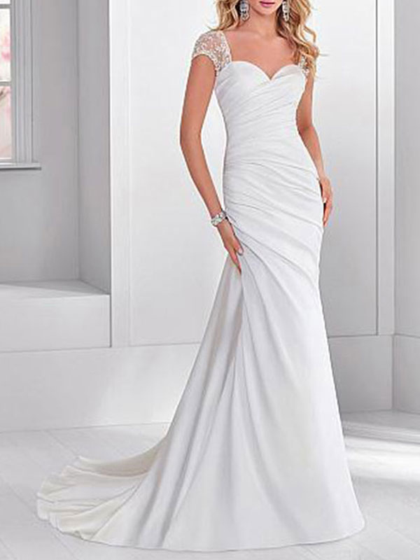Einfache Brautkleid Lycra Spandex Schatz-Ausschnitt Kurze Ärmel Perlen Meerjungfrau Brautkleider