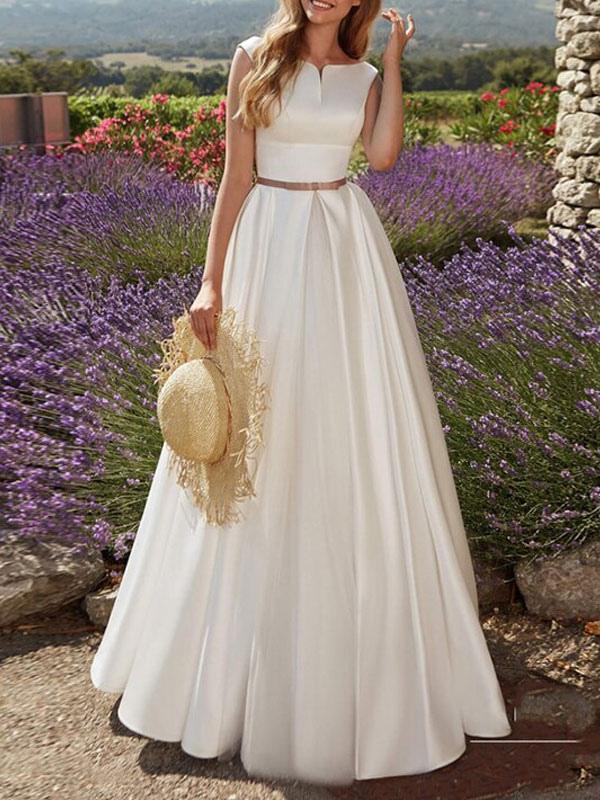 Vintage Brautkleider Bodenlangen Designed Ausschnitt Ärmellose Schärpe Satin Stoff Brautkleider