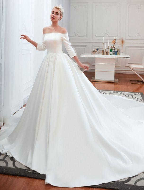 Vintage Brautkleid 2021 Satin 3/4 Ärmel schulterfrei bodenlangen Brautkleider mit Kapelle Zug