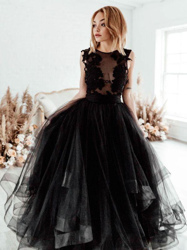 Schwarzes Brautkleid A-Linie Illusion Ausschnitt Ärmellos Rückenfreie Applikation Bodenlang Spitze Tüll Brautkleider
