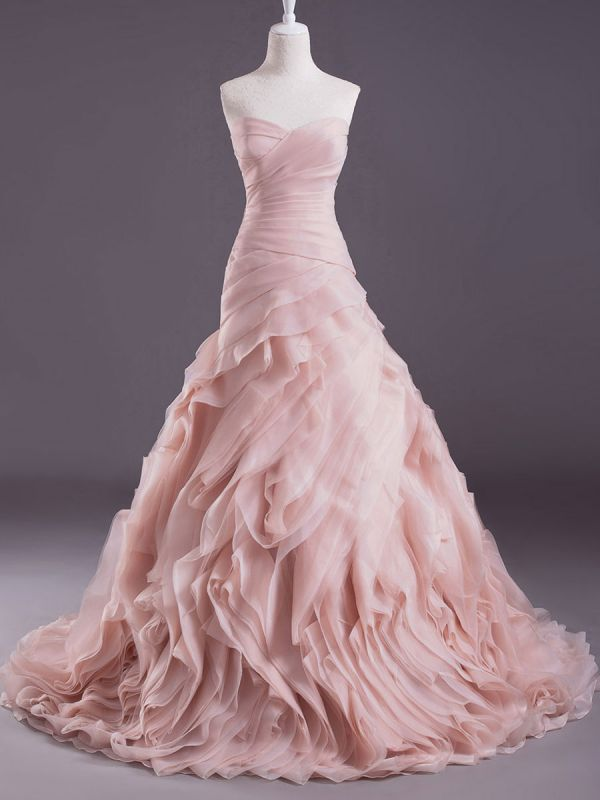Rosa A-Linie trägerloses herzförmiges Brautkleid mit abgestuftem Sweep-Effekt