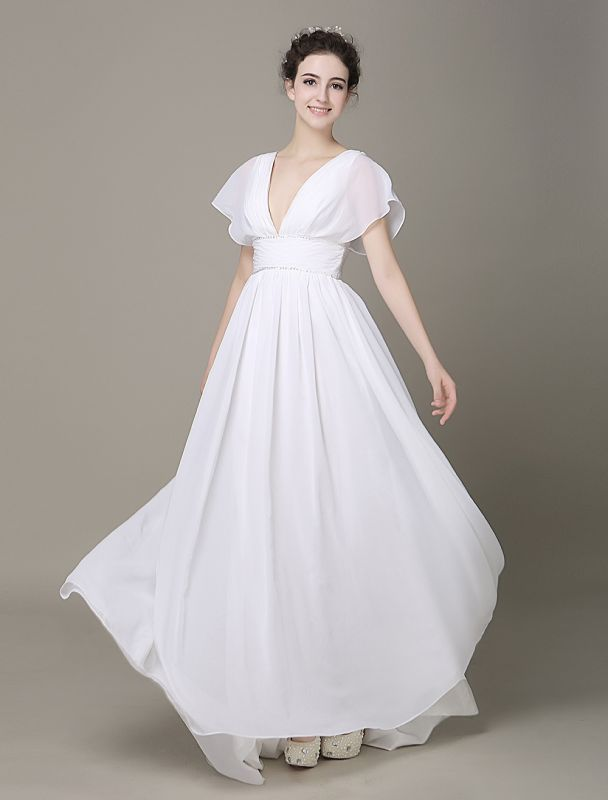 Plunging Chiffon Beach Wedding Dress A-Line Ivory V-Neck Pleated Belt Short Sleeves Bridal Dress With Court Train Exclusive