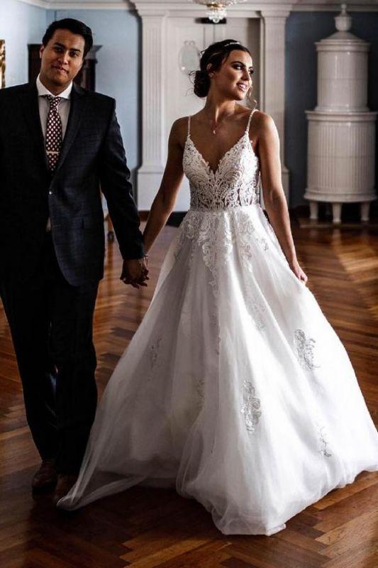 Simple A-line Wedding Dresses White V-neck Tulle Lace Appliques Bridal Dress