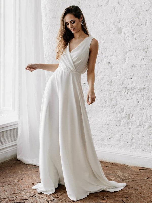 Vestido de novia blanco simple con tren Escote en V Sin mangas Sin espalda Encaje Una línea de vestidos de novia de gasa