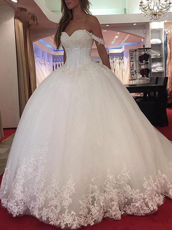 Brautkleid Prinzessin Silhouette Schatz-Ausschnitt Ärmellos Natürliche Taille Applique Tüll Brautkleider