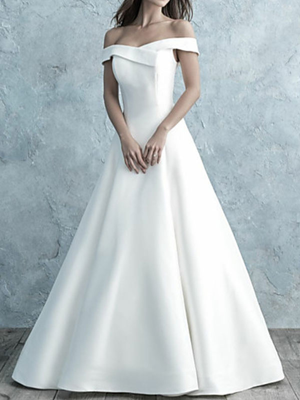 Simple Wedding Dress Off The Shoulder Matte Satin Short Sleeves Buttons A Line Bridal Gowns