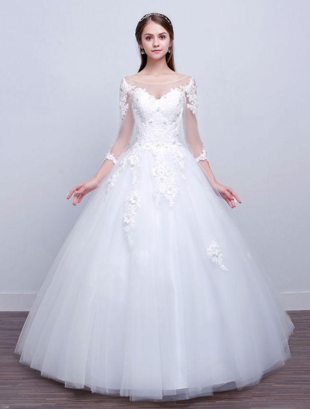 Prinzessin Ballkleid Brautkleider Langarm Spitze Illusion Elfenbein bodenlangen Brautkleid