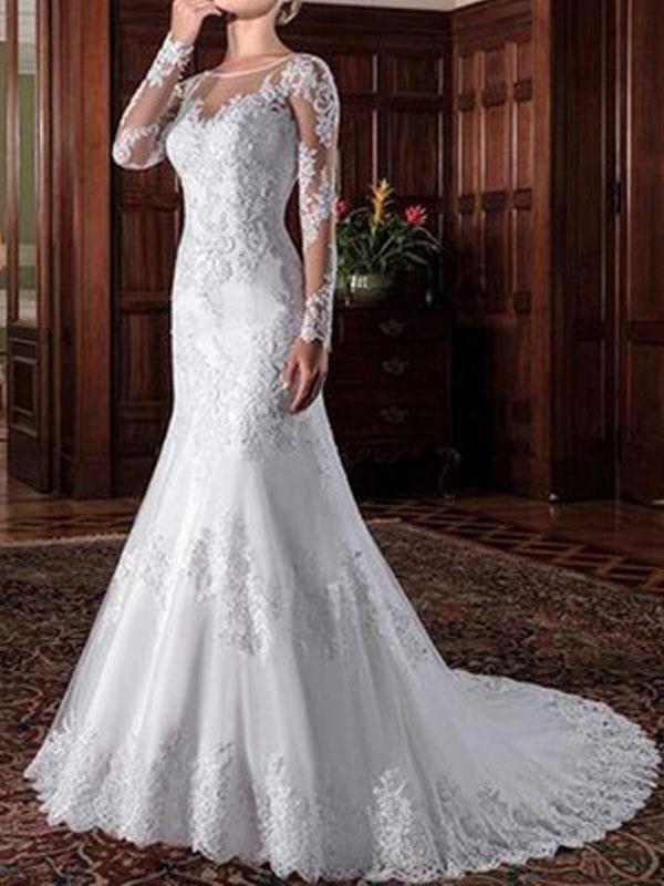 Vintage Hochzeit Brautkleid Mantel Illusion Hals Langarm Spitze Applique Brautkleider mit Zug