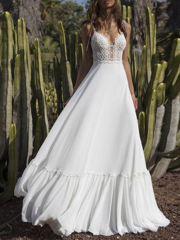 Boho Wedding Dresses 2021 Chiffon V Neck A Line Straps Sleeveless Bows Lace Bridal Gowns Ruffle Hem Bridal Dress For Beach Wedding