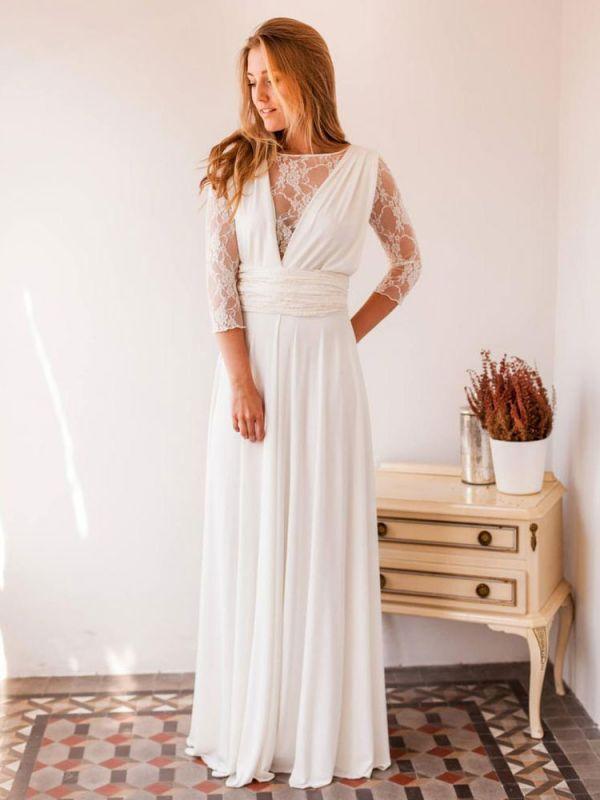Robes de mariée A-ligne Jewel Neck manches longues en dentelle dos nu en mousseline de soie Robes de mariée