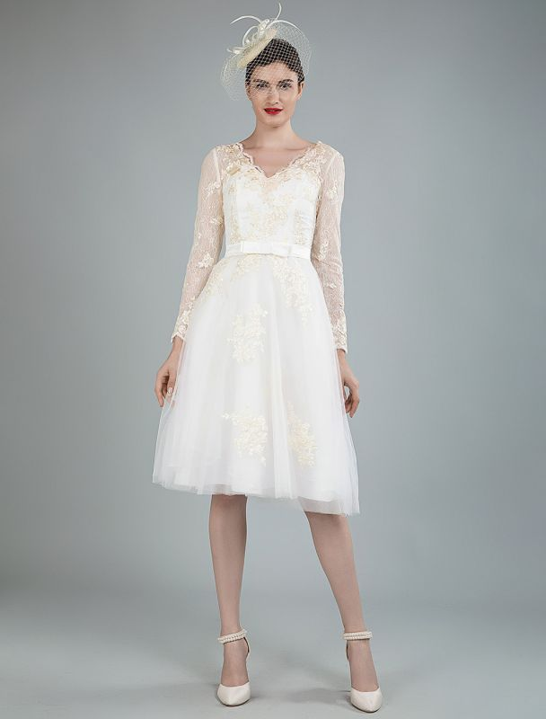 Short Wedding Dress Tulle Knee Length V Neck Long Sleeves A Line Natural Waist Bridal Gowns Exclusive