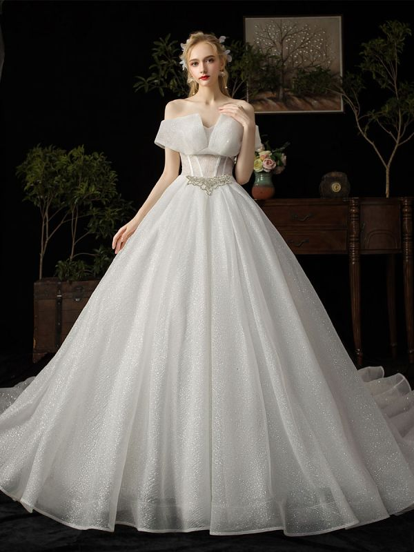 Ball Gown Wedding Dress 2021 Princess Silhouette Cathedral Train Off The-Shoulder Short Sleeves Natural Waist Beaded Sequined Bridal Dresses