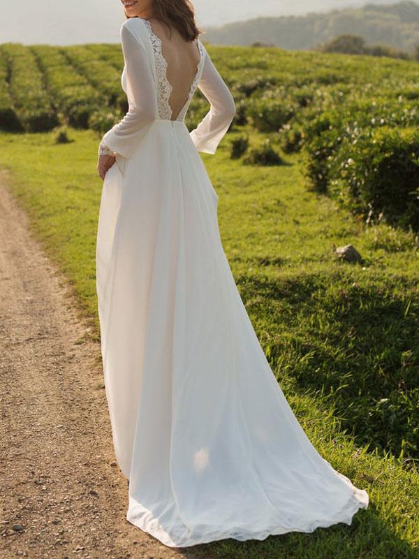 Einfaches Hochzeitskleid Lycra Spandex Bateau-Ausschnitt mit langen Ärmeln Spitze A-Linie Brautkleider