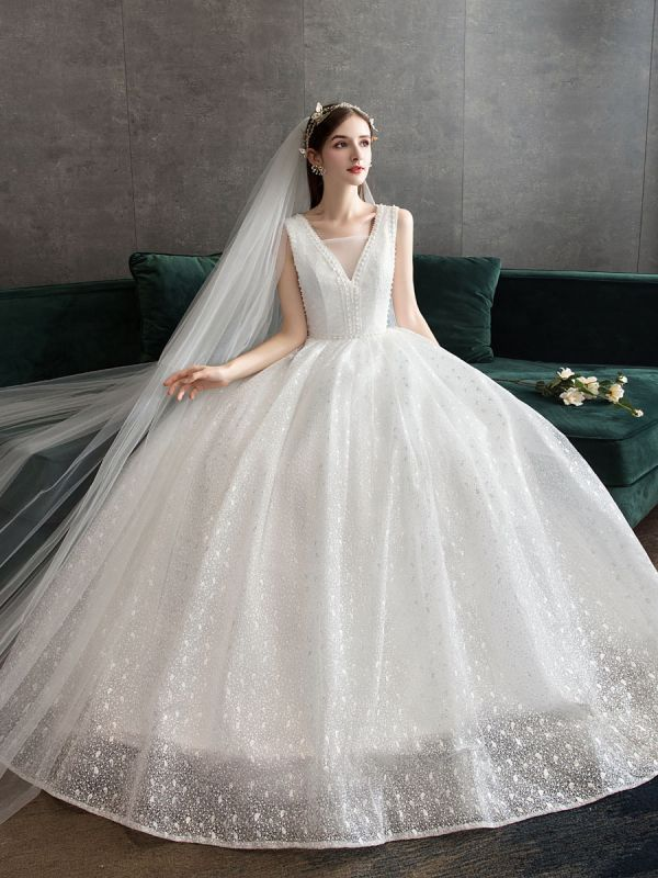 Ivory Wedding Dress Tulle Beaded V Neck Sleeveless Floor Length Princess Bridal Gown