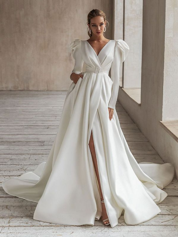 Vintage Brautkleid Weiß Brautkleider mit langen Ärmeln Brautkleid mit V-Ausschnitt A-Linie mit Zug Brautkleider
