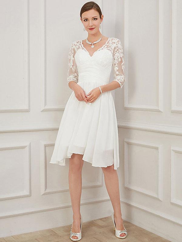 Vestido de novia corto marfil Hasta la rodilla Cuello en V Medias mangas Una línea Cintura natural Vestidos de novia de gasa