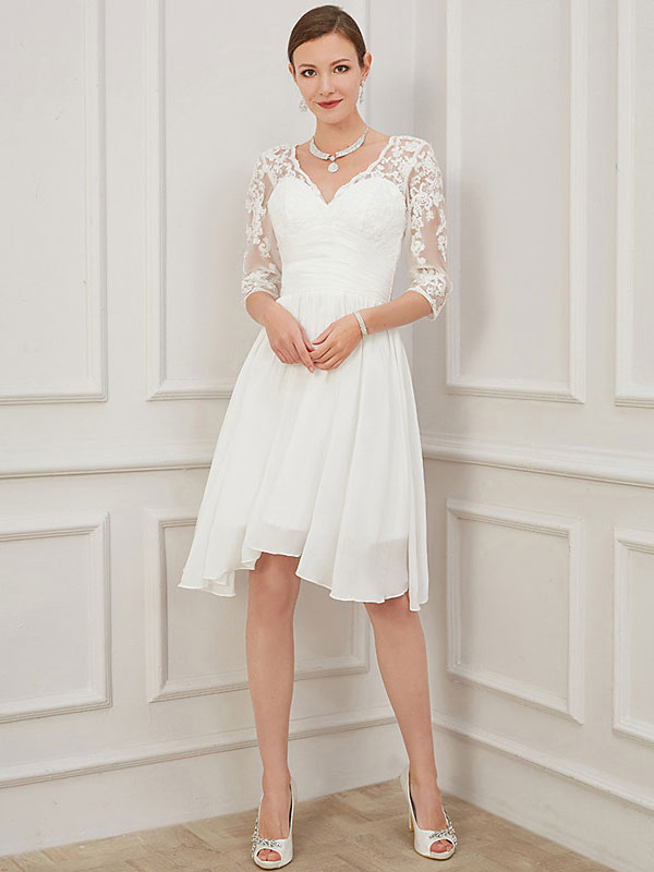 Ivory Short Wedding Dress Knee Length V Neck Half Sleeves A Line Natural Waist Chiffon Bridal Dresses