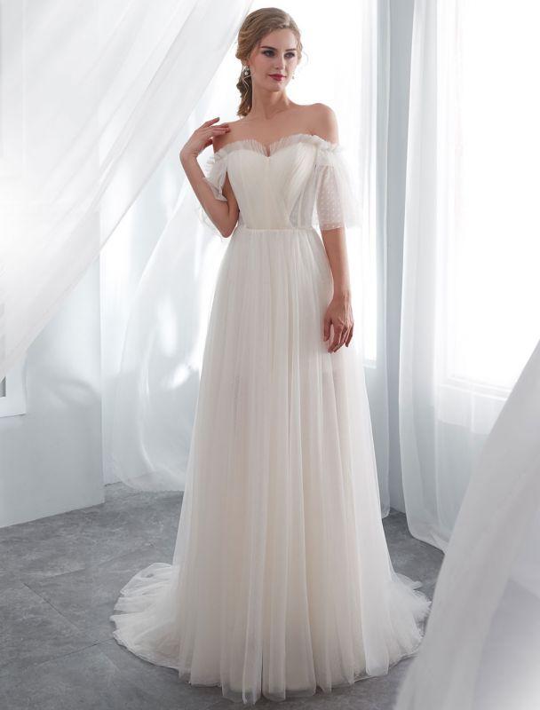 Ivory Wedding Dresses Off Shoulder Half Sleeve Tulle Beach Bridal Dress With Train