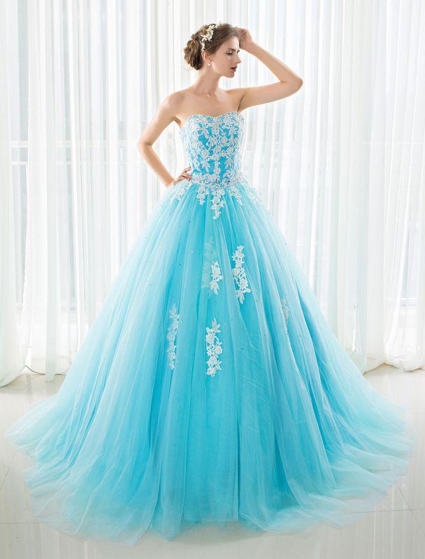 Blaues Hochzeitskleid Spitze Applique Tüll Hof-Schleppe Trägerlos Schatz Lace-Up A-Linie Brautkleid