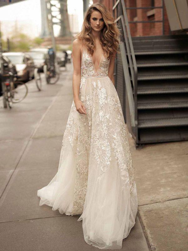 Lace Wedding Dress With Train A Line Sleeveless V Neck Bridal Dresses