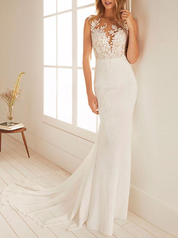 Simple Wedding Dress Mermaid Chiffon Jewel Neck Sleeveless Floor Length Beach Bridal Gown With Court Train