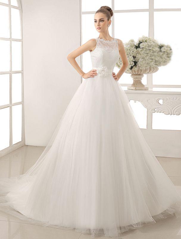 Bateau Neck Wedding Dress With Chapel Train