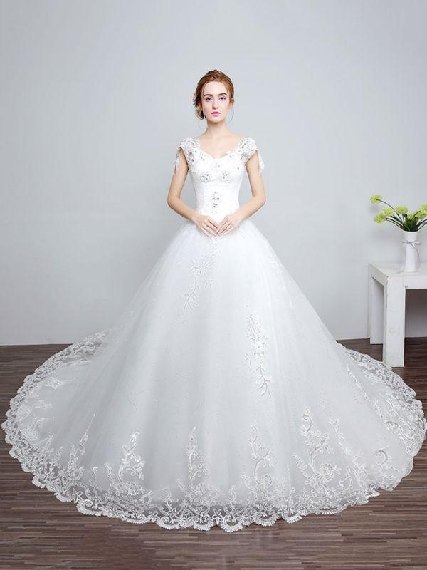 Prinzessin Brautkleider Elfenbein Backless Brautkleid Spitze Applique V-Ausschnitt Langer Zug Brautkleid