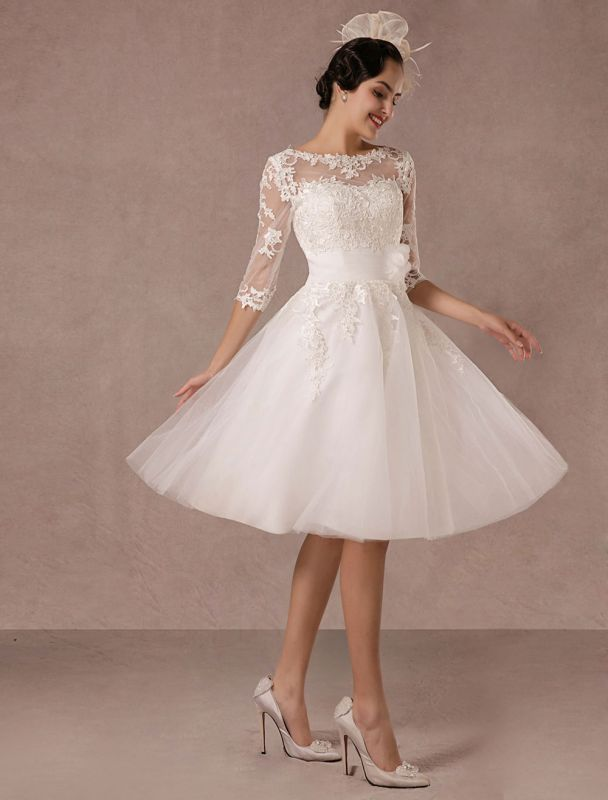 Short Wedding Dress Vintage Lace Applique Long Sleeves Tea Length A Line Tulle Bridal Gown With Flower Sash Exclusive