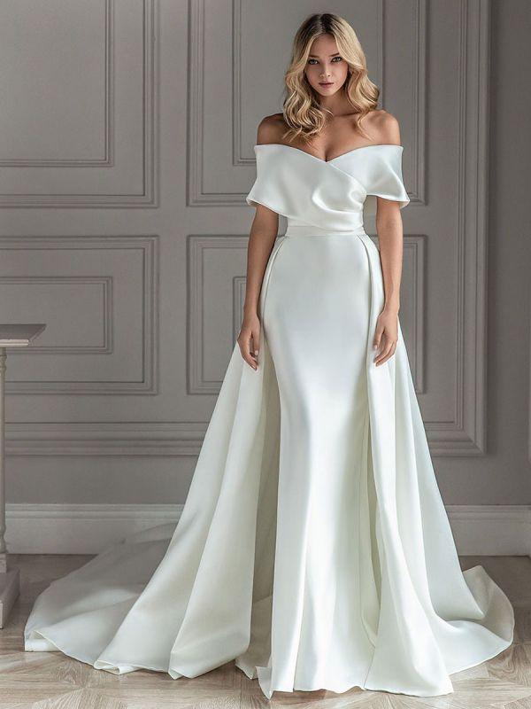 Robe de mariée vintage blanche avec train en satin sur l'épaule robe de mariée plissée sirène robes de mariée